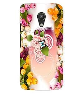 ColourCraft Beautiful Flowers Design Back Case Cover for MOTOROLA MOTO G2