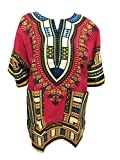 Blusas Dashiki africanas unisex, manga corta, con impresión tradicional africana, para verano (Red)