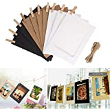 """Desi Rang™ 10 Pcs Hanging Photo Frame With Wooden Clips And Rope (Outer Size 6"""" X 4.5"""" Inch, Inner Size 4.25"""" X 3"""" Inch) Colored"""