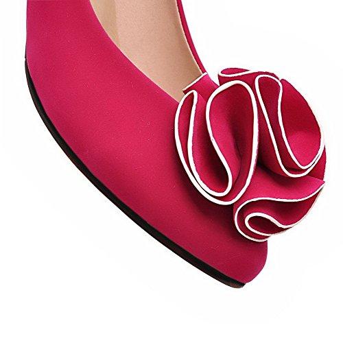 AllhqFashion Femme Rond Tire Suédé Couleur Unie à Talon Correct Chaussures Légeres Rouge