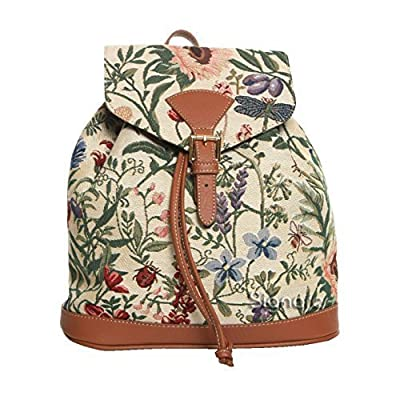 Women's Small Rucksack Backpack Tapestry Canvas Fashion Bags/ Morning Garden