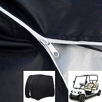 "WWWANG 2/4 Passenger 600D Waterproof Sunproof Golf Cart Cover, Dust Proof Durable Club Car Cover with Zipper - Black (Size : 95.27""*48.03""*66.14"")"