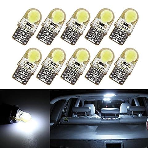 S & D 10x T10W5W BLANC COB Gel de silice voiture Ampoules LED lumière de frein dc-12V