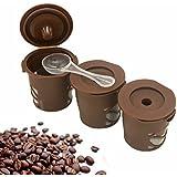 Reutilizable Filtro de té de café, MKQPOWER Pack de 3Cápsulas de café Cápsulas rellenables reutilizable k-carafe/K-CUP/filtro de agua Cápsula de espresso para máquinas Nespresso (con cuchara)