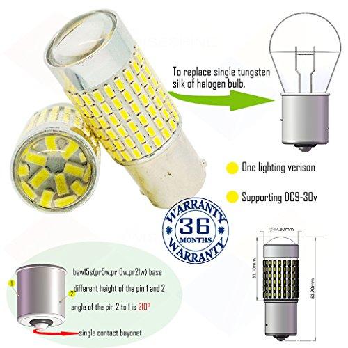 Preisvergleich Produktbild Wiseshine 5000k baw15s pr5w pr10w led birne lampen DC9-30v 3 Jahre Qualitätssicherung (2 Stück) baw15s 144smd 3014 natürliches Weiß
