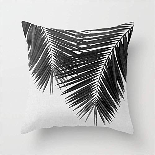 Klotr Kissenbezug Palm Leaf Black White II Throw Pillow Case Cushion Cover 18 X 18 inches