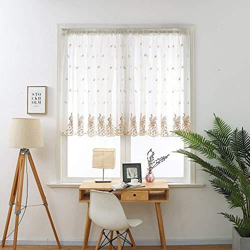 Gaddrt® 1 Scheibengardine Blätter durchsichtiger Vorhang Tüllstoff Fensterbehandlung Voile Drape Volance Stoff gelb