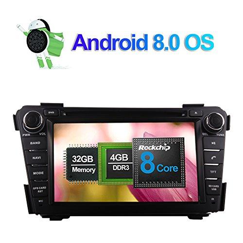 Android 8.0 Autoradio Stereo 4GB RAM GPS Navigation für Hyundai i40 2011- mit 7 Zoll Bildschirm 32GB ROM Unterstützung DVD Multimedia Player Bluetooth FM AM RDS WLAN Kamera Eingang 1080P Video (Hyundai Dvd-player)