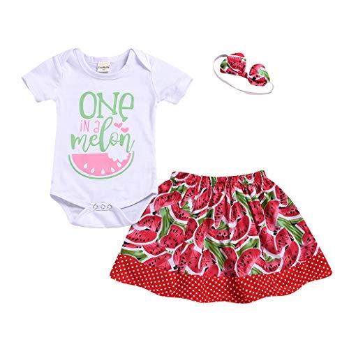 OVINEE 3 STÜCKE Neugeborenen Kleinkind Babyspielanzug Infant Girls Print Overall Kleidung Outfit Anzug Rock Stirnband Wassermelone Print