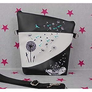 pinkeSterne ☆ Umhängetasche Handtasche Schultertasche Stickerei Handmade Pusteblume Feder Möwen