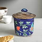 KITTENS Airtight Ceramic Jar with Wooden Lid - Handpainted in Attractive Blue Pattern.