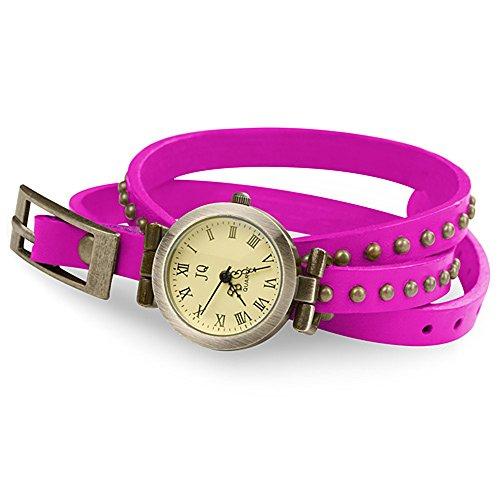 Leder-nieten-platten (Taffstyle Vintage Damen-Armbanduhr Wickeluhr Leder Analog Vintage Designer Retro Look Uhr Wickelarmband Pink Gold)