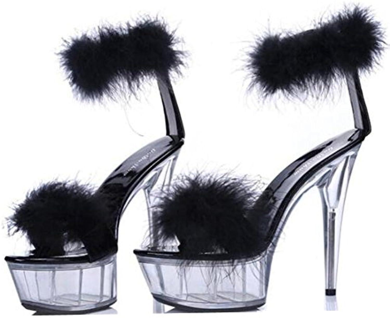 GAOGENX Scarpe da Donna Sexy Party Club Tacco Tacco Tacco a Spillo Piattaforma Trasparente Tacco di Cristallo Dimensioni Piuma... | durabilità  8ee8ed