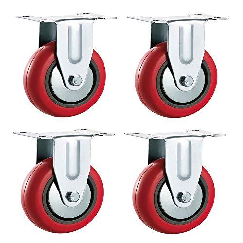 WYBFBYQ Polyurethan-Bockrollen, RED PU Heavy Duty Möbel-, Geräte- und Ausrüstungsräder,wheeldiameter75mm -