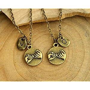 Personalisierte Initiale Halskette/Armband Hand in Hand, Herz zu Herz, Beste Freund Halskette/Armband Set, Freund GirlFriend Geschenk, Weihnachtsgeschenke, Couples Geschenk