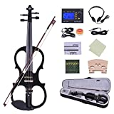 ammoon 4/4 Violon Pleine Grandeur 4/4 Bois Massif électrique Silencieux Violon Fiddle Style-1 Ebony Fingerboard Pegs Chin Rest Tailpiece avec Bow Hard Case Tuner Casques Rosin Extra Strings and Bridge (noir)