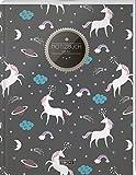 """TULPE Blanko Notizbuch A4 """"C116 Einhornmotive"""" (140+ Seiten, Vintage Softcover, Seitenzahlen, Register, Weißes Papier - Dickes Notizheft, Skizzenbuch, Zeichenbuch, Blankobuch, Sketchbook)"""