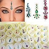 Scatoletta contenente lunghe decorazioni di cristallo multicolore tika bindi, ornamento indiano per la fronte, gioiello decorativo da donna per il volto delle spose Tika