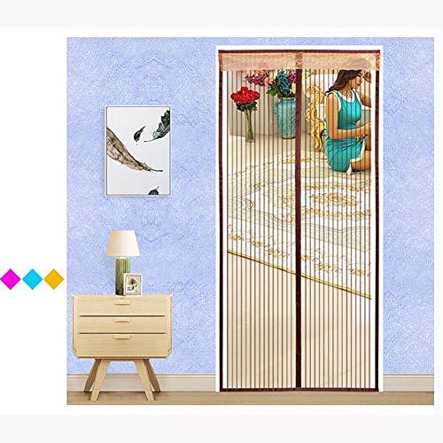 Jffffwi schermo magnetico mesh porta zanzariera vetroresina forti magneti telaio completo di velcro nastro adesivo per impieghi pesanti si adatta le dimensioni della porta-e 120x220cm(47x87pollici)