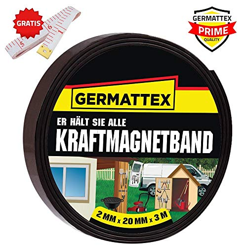 GERMATTEX Magnetband selbstklebend I Magnet I Magnetklebeband I Magnetklebestreifen I Magnetisches Klebeband I Magnetstreifen I Schule & Präsentationen (20mm x 2mm x 3m)