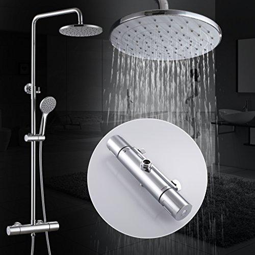 Kinse Elegant Chrom Überkopf-Brauseset Duschsystem mit Brausethermostat inkl. Handbrause und Regenbrause