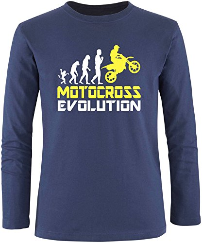 EZYshirt® Motorcross Evolution Herren Longsleeve Navy/Weiss/Gelb