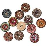 Botón de madera redonda Souarts varios dos agujeros botones de madera ropa de costura decoración Manualidades DIY 200 pcs