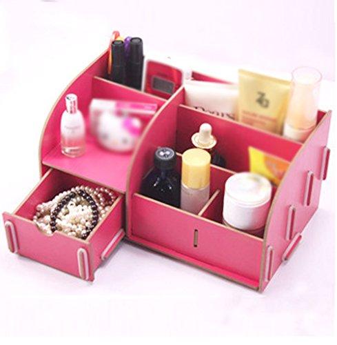 MMM Bureau en bois de tiroir de rangement Boîte cosmétique Boîte de rangement Boîte à bijoux Support de rangement ( Couleur : Pastèque rouge )