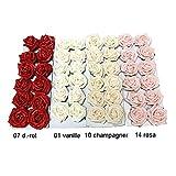 Rosenblüten, Köpfe, Foam- Schaum- Rosen, 5cm/ 12 St. !!! (01 vanille)