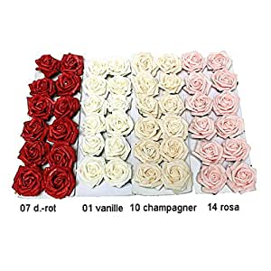 rosenbl ten k pfe foam schaum rosen 5cm 12 st 10 champagner. Black Bedroom Furniture Sets. Home Design Ideas