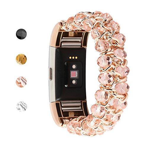 outter Ersatz-Riemen für Fitbit Charge 2Smart-Band, Armband für Frauen mit elastischer Stretch Perlen Armbänder für Fitbit Charge 2Smart Watch, B-Rose Gold