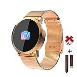 RanGuo Reloj Inteligente para Hombres Mujeres y niños, Deportes al Aire Libre Smart Watch para Sistema Android y iOS, Apoyo recordatorio de Llamada y recordatorio de Mensaje (Correa de Acero, Dorado)