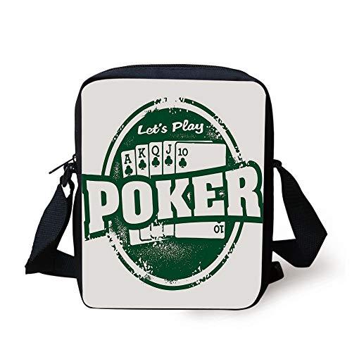 Poker Tournament Decorations,Lets Play Poker Stamp Royal Flush Grunge Vintage Full House,Green White Print Kids Crossbody Messenger Bag Purse -