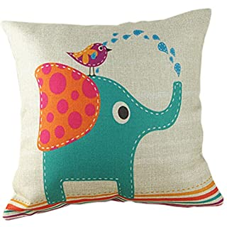Amybria Home Decor Cotton Linen Pillow Case Sofa Cushion Cover, Éléphant, 45*45cm