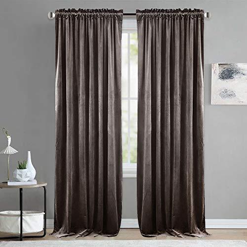 nicetown Samt Rod Pocket Vorhänge, Textil, Taupe (Pole Top), W52 x L84 -