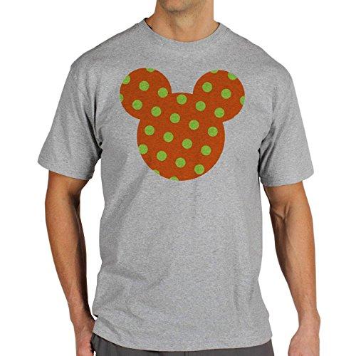 Mickey Mouse Disney Dope Icon Swag Colour Orange Green Dotted Herren T-Shirt Grau