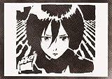 Mikasa Ackerman Attack On Titan Shingeki No Kyojin Poster Plakat Handmade Graffiti Street Art - Artwork