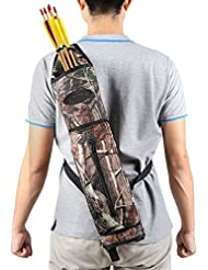 G4Free Archery Deluxe Canvas Back Arrow Quiver Hunting Target Arrow Quiver