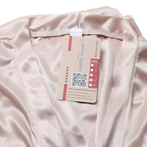 SiDiOU Group Nacht Robe Damen Kimono Morgenmantel Satin Kimono Robe Kurz Bademantel Frauen Schlafanzug Nachtwäsche Satin Nachthemd Eis Seide Style 1-Champagner