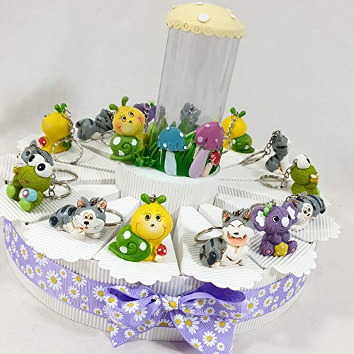 Bomboniere nascita battesimo bambina/o appoggio, portachiavi, magnete selezionando la scelta offerta on line kkk (torta bomboniera portchiavi animaletti)