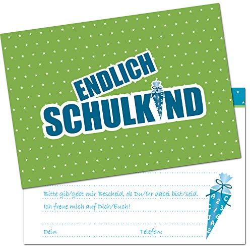 Kreatives Herz - ENDLICH Schulkind Einladungskarten zur Einschulung (10er Set - A6) für Jungen Einladungen Schulanfang Kinder Party 1. Schultag Schultüte Zuckertüte grün blau