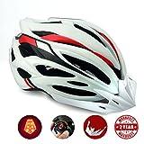 Casco da bici con luce LED,Certificato CE, A-Best specialista di casco con luce di sicurezza super leggero integralmente bici casco adulto bici casco con visiera rimovibile e antiscivolo