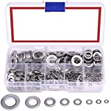 DIY Crafts 410-Pcs [8-Size] 304 Stainless Steel Flat Washer Assortment Set - Size Included: M2 M2.5 M3 M4 M5 M6 M8 M10