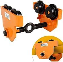 Timbertech - Carro para polipasto para cargas de 1 tonelada (aprox. 30,5/25,5/18 cm) - para garajes, talleres, agricultura y otro (color negro-naranja)