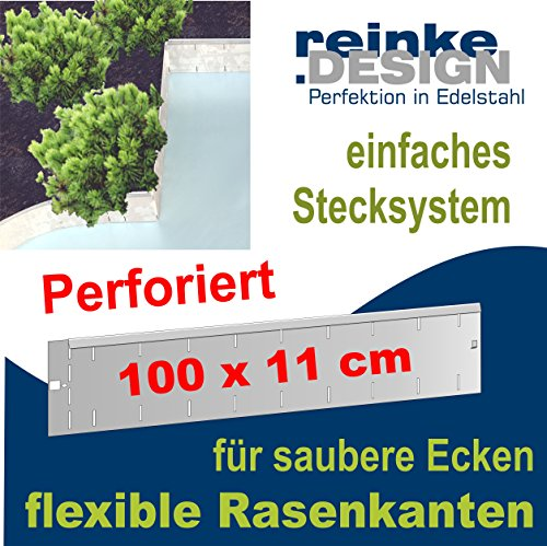 Reinkedesign Rasenkante aus Edelstahl flexibel u. perforiert, 100 cm x 11 cm
