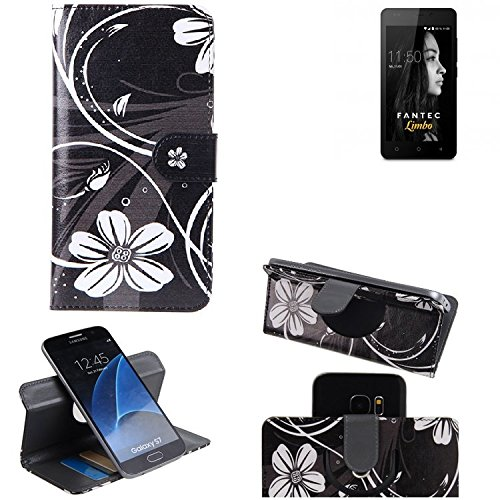 K-S-Trade Schutzhülle FANTEC Limbo Hülle 360° Wallet Case Schutz Hülle ''Flowers'' Smartphone Flip Cover Flipstyle Tasche Handyhülle schwarz-weiß 1x