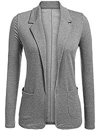 Chaqueta de Traje Mujer Slim Fit Color Sólido Elegante Manga Larga Oficina Negocios  Blazer Cardigan Outwear 1431745c9c7e