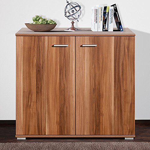 Nussbaum Schrank (Sideboard mit 2 Türen Nussbaum Highboard Kommode Standschrank Mehrzweckschrank Schrank Anrichte Beistellkommode Typ 80)