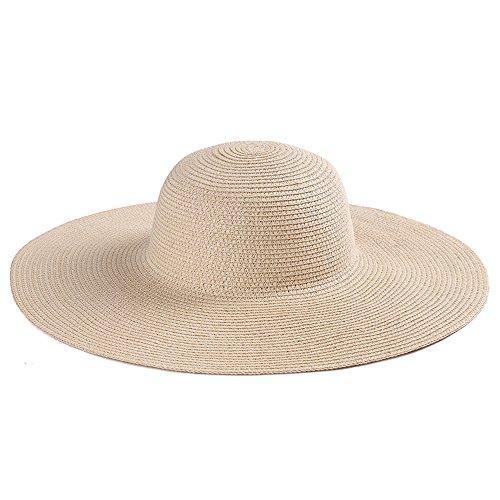 Meaeo Sommer Strohhut Strohhut Sonnenhut Sonnenhut Großer Hut Einfach Beige