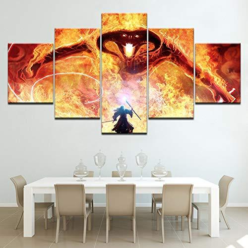 CXDM Lona HD Impreso El señor de los Anillos Balrog y Gandalf Imágenes Pintura Mural de la Pared 5 Paneles Ilustraciones… 4
